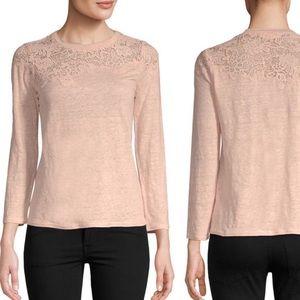 Rebecca Taylor Arella linen lace trim pullover top